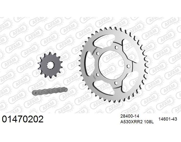 AFAM Premium Chain & Steel Sprocket Kit, 530 (OE pitch) - Plain Steel 108 link chain, 14T steel/43T steel sprockets