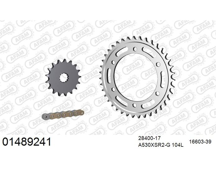 AFAM Premium Chain & Steel Sprocket Kit, 530 (OE pitch) - Gold 104 link chain, 17T steel/39T steel sprockets