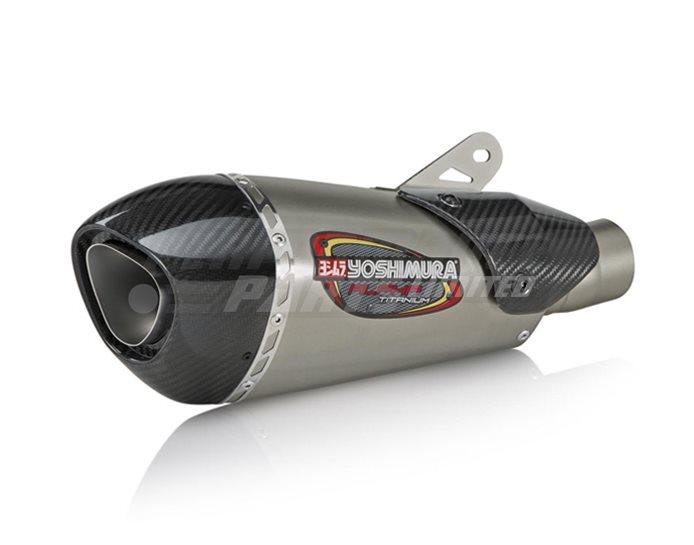 Yoshimura Titanium Alpha T 3 Qtr Carbon Fibre End Cap and Heat Shield - Race (removable Baffle)