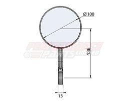 132SE03SW - LSL Clubman Bar End eMark mirror - Aluminium, black - single mirror
