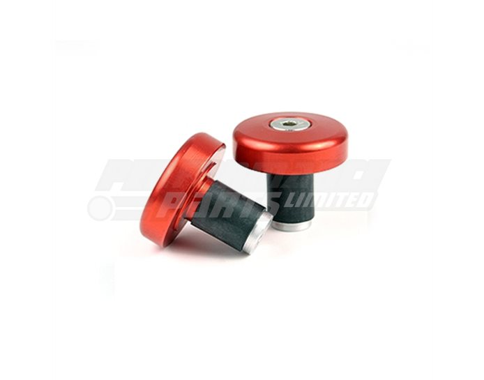 135-005RT - LSL Flat cap bar end weights, pair, Aluminium, Transparent Red (other colours available) - for X-Bar (28.6mm) and 22.2mm aluminium bars