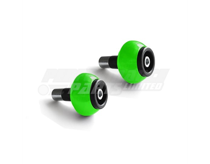 LSL Bar End crash balls Aluminium, pair, Green (other colours available) - for 22.2mm  steel and 1 inch aluminium bars