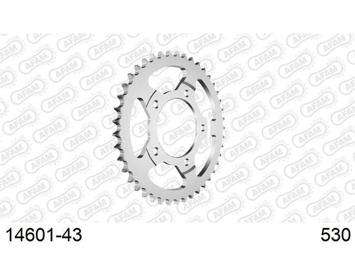 AFAM Sprocket, Rear, 530 (OE pitch), Steel  - Silver, 43T (orig size)