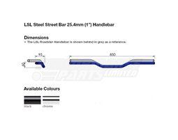 163L000.1CR - LSL Street Bar - medium rise 25.4mm (inch) steel handlebar, Chrome