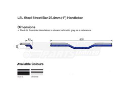 163L000.2SW - LSL Street Bar - medium rise 25.4mm (inch) steel handlebar, Black - Harley Dimple