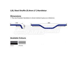 163L015.2SW - LSL Shuffle - high rise 25.4mm (inch) steel handlebar, Black - Harley Dimple