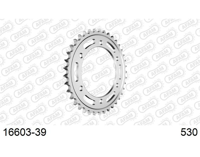 AFAM Sprocket, Rear, 530 (OE pitch), Steel  - Silver, 39T (orig size)