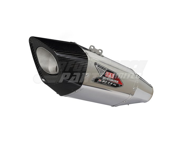 Yoshimura Stainless R-11sq Single-Exit Carbon Coned End Cap Full System - Stainless Header - Yoshimura Japan - Race (Removable Baffle)