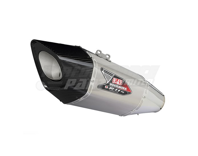 Yoshimura Titanium R-11sq Single-Exit Carbon Coned End Cap Full System - Stainless Header - Yoshimura Japan - Race (removable Baffle)