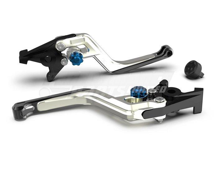LSL Ergonia Clutch Lever, Silver - Blue adjuster, Black slider