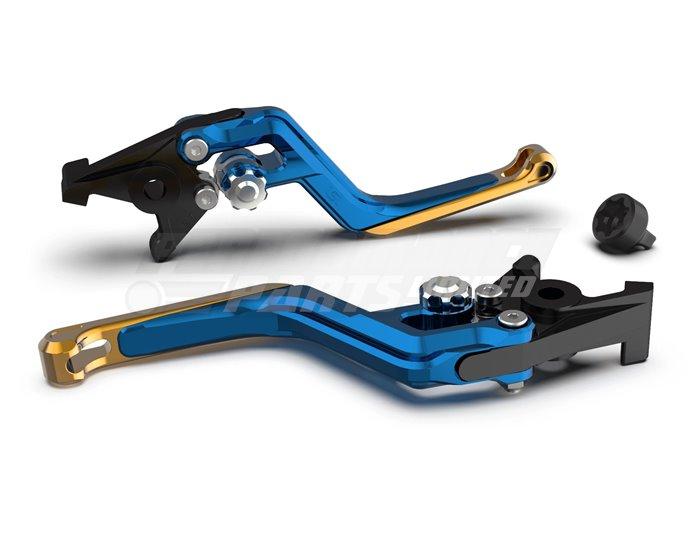 LSL Ergonia Blue Clutch Lever - Silver adjuster, Gold slider