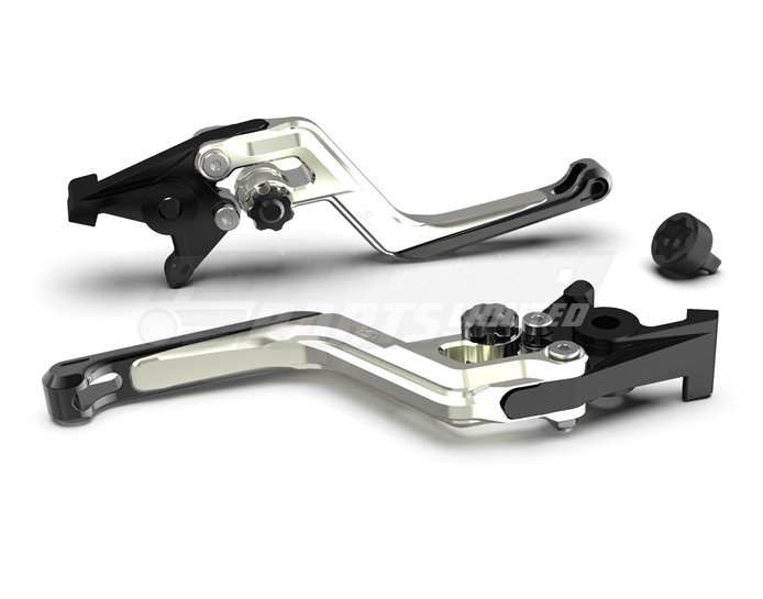 LSL Ergonia Clutch Lever, Silver - Black adjuster, Black slider