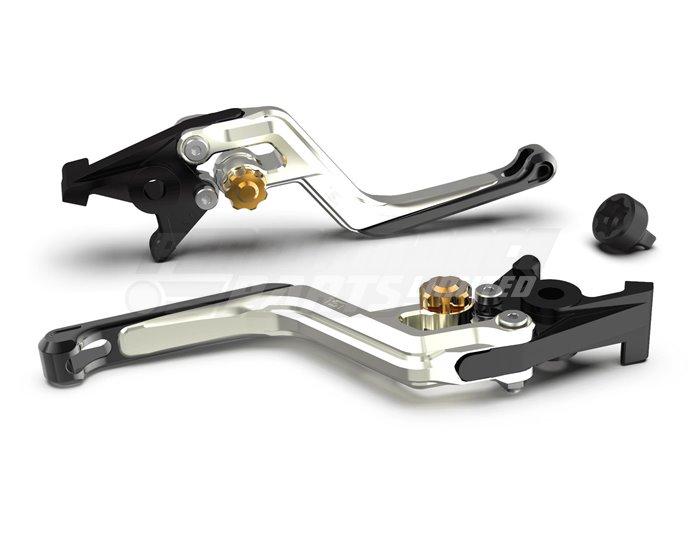 LSL Ergonia Clutch Lever, Silver - Gold adjuster, Black slider