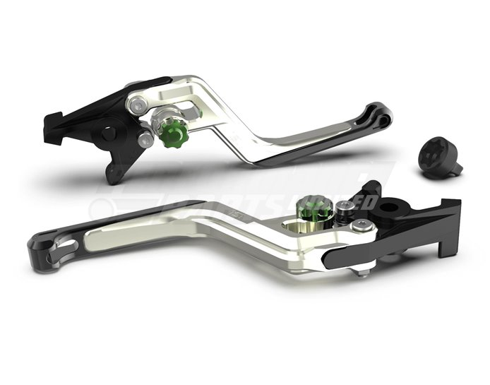 LSL Ergonia Clutch Lever, Silver - Green adjuster, Black slider