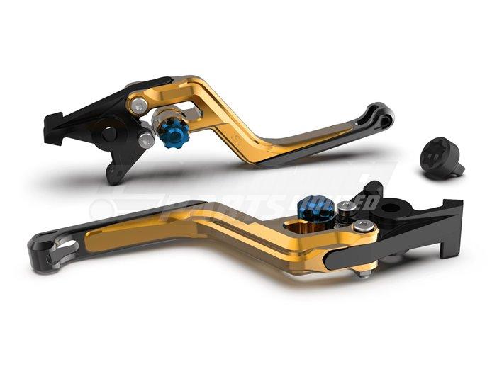 LSL Ergonia Brake Lever, Gold - Blue adjuster, Black slider