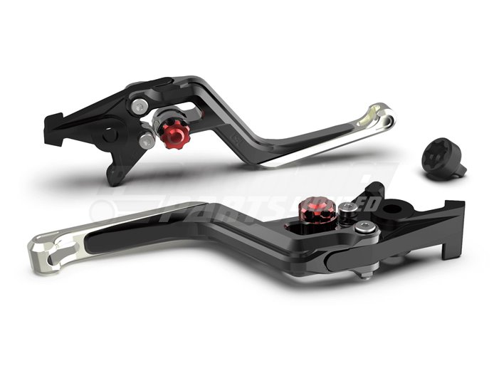 LSL Ergonia Black Brake Lever - Red adjuster, Silver slider