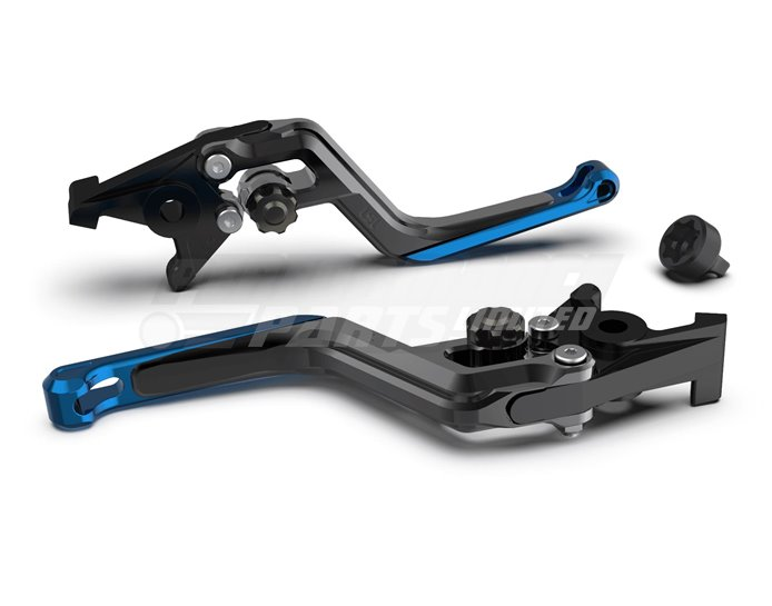 LSL Ergonia Black Brake Lever - Anthracite adjuster, Transparent Blue slider