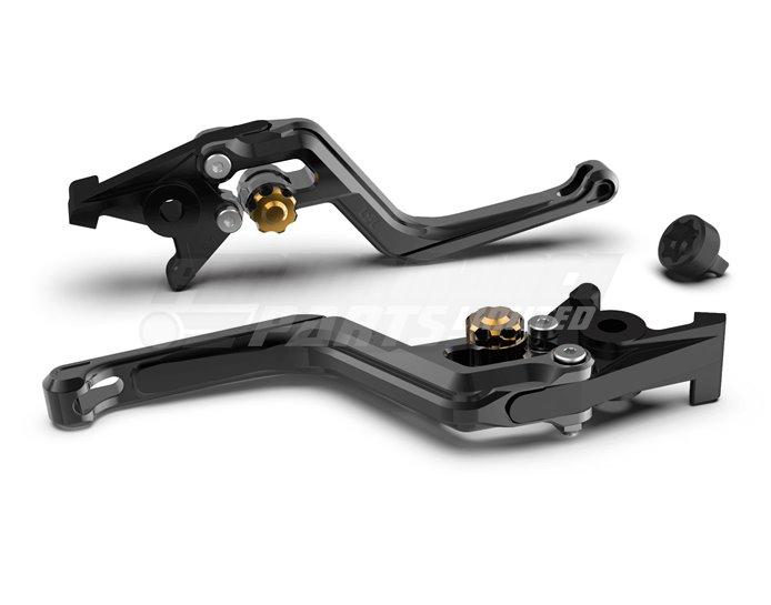 LSL Ergonia Brake Lever, Black - Gold adjuster, Black slider