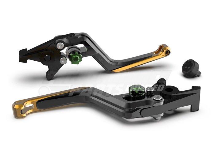 LSL Ergonia Black Brake Lever - Green adjuster, Gold slider