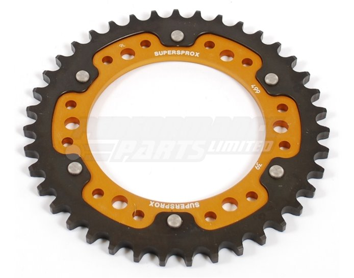 Supersprox Stealth Sprocket, Anodised Alloy, Gold Centre, 39 teeth