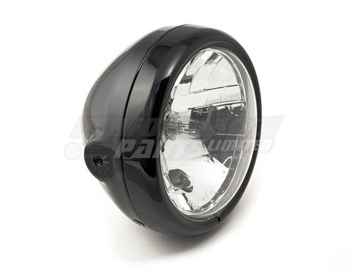 LSL Six Days, 160mm headlamp, black bowl housing, 145mm clear glass reflector unit, Black rim