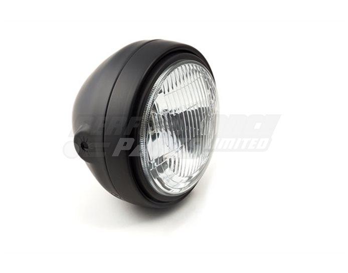 LSL Scrambler, 160mm headlamp, black bowl housing, 145mm ribbed glass reflector unit, H4, Black rim