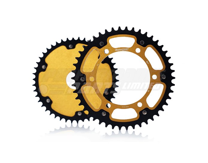 Supersprox Stealth Sprocket, Anodised Alloy, Gold Centre - Express delivery, made to order
