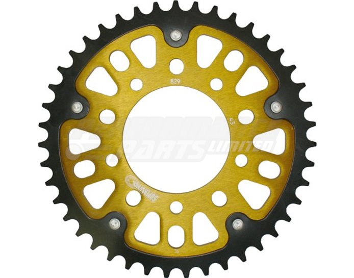 Supersprox Stealth Sprocket, Anodised Alloy, Gold Centre, 43 teeth