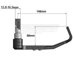BHP-01 - Gilles Moto GP Style Brake Lever Guard - CNC Machined - Black - M8 thread or ID 13.8-16.5mm