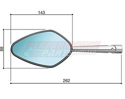 BS206A - Rizoma Veloce Mirror, Silver (other colours available) - Sold individually. Mirror adapter BS713B required.