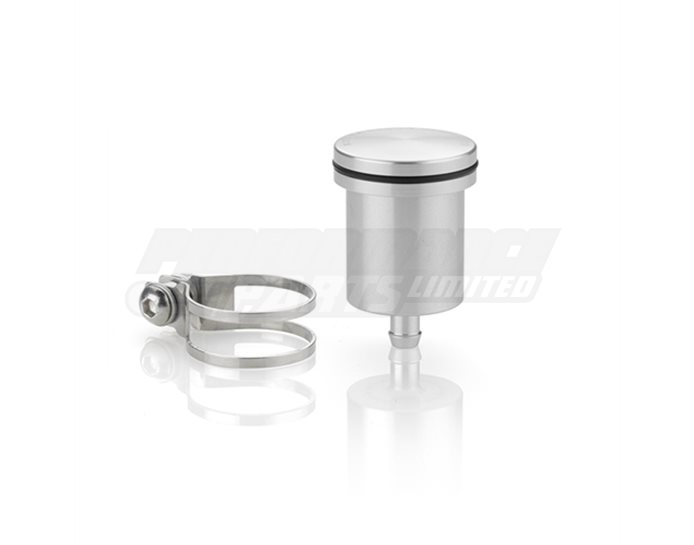 Rizoma Fluid Reservoir, Remote mounting, round cylinder, no window - 12cm3, rear brake, clamp fitting included