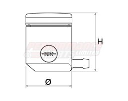 CT025R - Rizoma Fluid Reservoir, Remote mounting, round cylinder, small window, side exit - 15cm3, clutch, bracket included