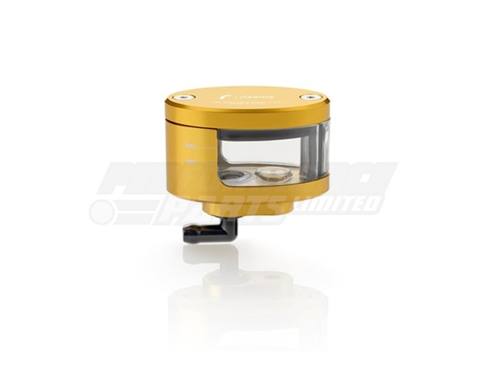 Rizoma Next Fluid Reservoir, Remote mounting, elliptical cylinder, windowed, angled bottom exit - 17cm3, clutch