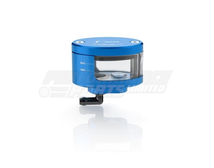CT125U - Rizoma Next Fluid Reservoir, Remote mounting, elliptical cylinder, windowed, angled bottom exit - 17cm3, clutch