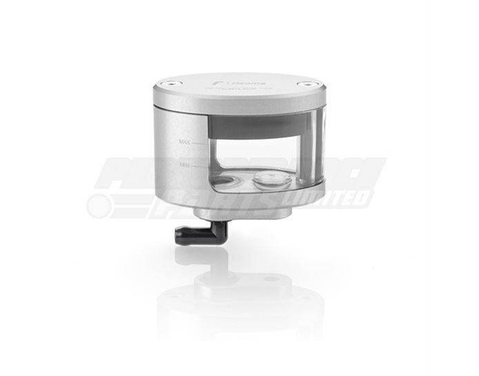 CT127A - Rizoma Next Fluid Reservoir, Remote mounting, elliptical cylinder, windowed, angled bottom exit - 27cm3, front brake