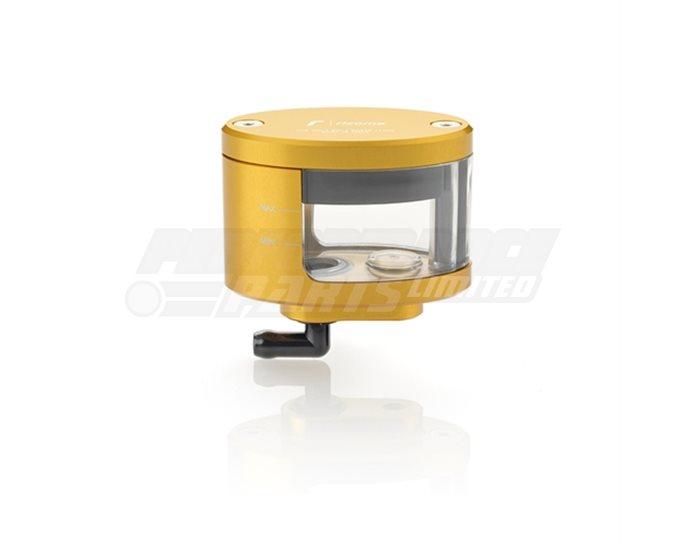 Rizoma Next Fluid Reservoir, Remote mounting, elliptical cylinder, windowed, angled bottom exit - 27cm3, front brake
