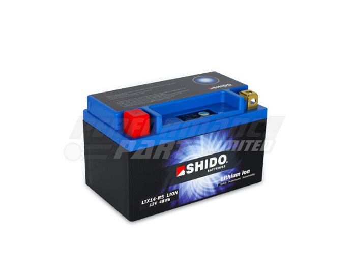 Shido Lightweight Lithium Battery Replaces YTX14-BS