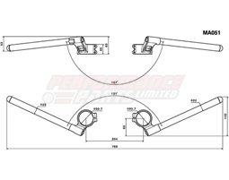 MA051B - Rizoma Clip-on bar kit for 51mm forks, Aluminium, Black