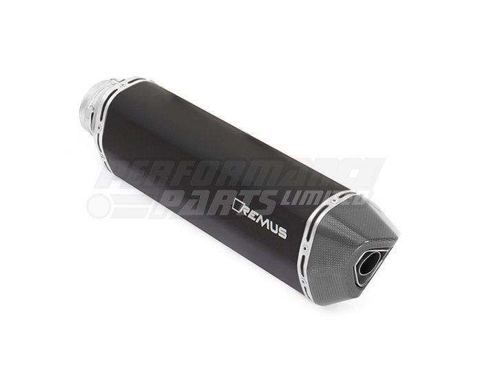 Remus  Black Hawk Slip On Black Stainless Silencer, inc heat shield- Road Legal