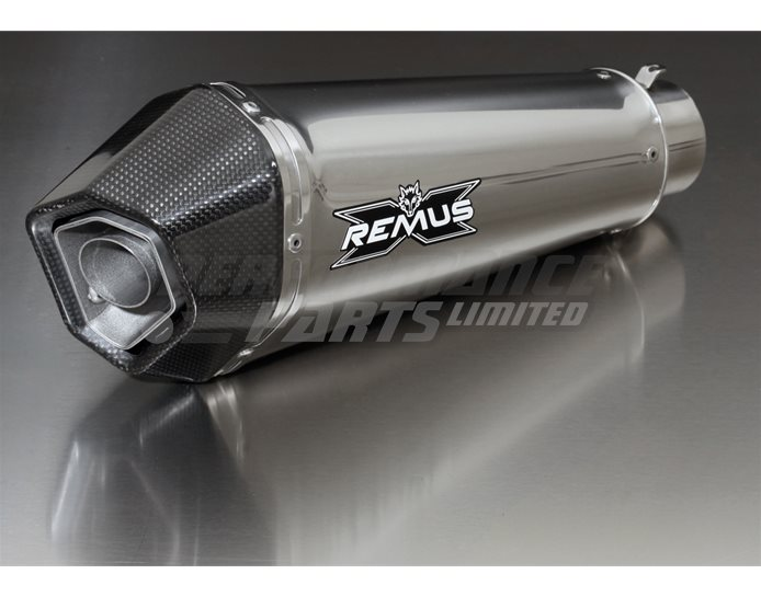 Remus Hypercone Slip On Kit With Cat Convertor inc link pipe heat shield Stainless silencer/Carbon outlet - Road Legal